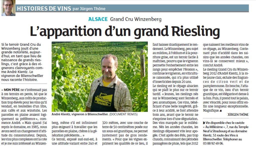 Le Riesling Grand Cru Winzenberg cité dans la presse